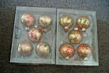 10 Martha Stewart Collection Glass Christmas Ornaments with Glitter New in Box!