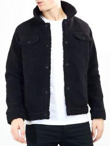 Men's Borg Teddy Fleece Western Style Jacket Black