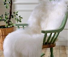 MONGOLIAN FUR RUG THROW TIBETAN LAMBSKIN FUR HIDE PELT CURLY HAIR CARPET WHITE