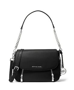 Michael Kors Bedford Convertible Black Silver Leather Shoulder Crossbody Bag