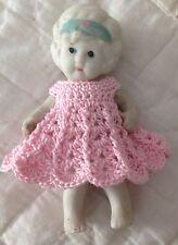 Crochet Dress for 4 Inch Frozen Charlotte Bisque Flapper Dollhouse Doll Pink