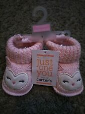 New! Carters Pink Owl Booties.Soft, stretch knit.