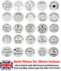 22MM BACK PLATE FOR 30MM FLOATING LOCKET CHARMS LIVING MEMORY PLATE DISC