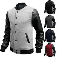 Mens  PU Leather Coats Splicing Long Sleeve Varsity Jackets Motorcycle Top