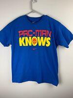 """Nike Pacquiao Shirt """"Pac-Man Knows"""" Blue Filipino Boxing Shirt Men's L Large"""
