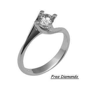 White Gold Ring 18 Carats Solitaire Of Natural Diamond 0,10 CT If Below Cost