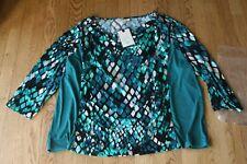 Dana Buchman Woman's 3/4 Sleeve Green Snake Top Blouse Sz 2X NWT $40
