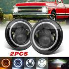 for Chevy Camaro 1967-1981 C10 1975-1980 Pair 7'' LED Headlights Halo Angle Eyes