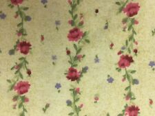 FLANNEL FABRIC ROSES PINK Red Green Yellow Stripe Rows Purple Cotton BTY 641
