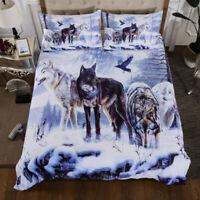 3D Snow Wolf Duvet Cover Twin/Full/Queen Comforter Cover Bedding Set Pillow Case