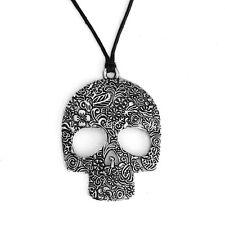 Skull Pendant Necklace Antique Silver Floral Sugar Punk with Black Cord