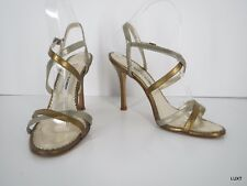 MANOLO BLAHNIK Sandals 7.5 Gold Silver Metallic Mary Jane Open Toe Heels Italy