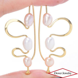 Designer 6-7mm Pearl 14K Gold Swirl Drop Earrings 6.3 Grams NR