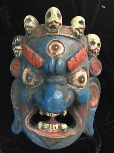 Huge Antique Tibetan Hand Made Wood *Amulet Mask* Pendant