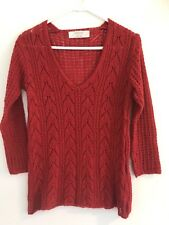 ☘️ ZARA KNIT women's Red Fine Cable Wool Mohair Jumper V-Neck Sz S