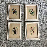 1930's Feather Bird Folk Art Picture Framed Lot Set Of 4 Art Deco E6