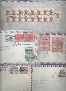 PAKISTAN INDIA 1950's 5 AIR MAIL COVERS VARIOUS FRANKINGS TO US