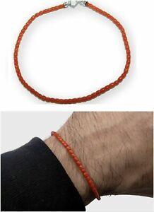 Bracelet Italian of Red Coral in 925 Sterling Silver and Handmade Men Gemstone