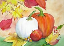 """White and Orange Pumpkins"", Autumn, Novelty, Elegant, Original Watercolor"
