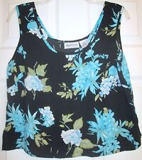 Apparenza Black Blue Floral Print Shell Tank Crop Top Sz Small S EUC Layer Club