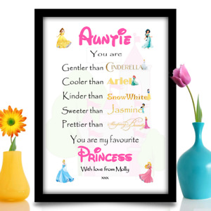 Birthday gift for Auntie Niece Friend Personalised Princess A4 gloss print