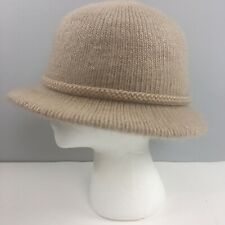 Vtg Aris Knit Fedora Womens Winter Hat Tan Natural Usa Made One Size