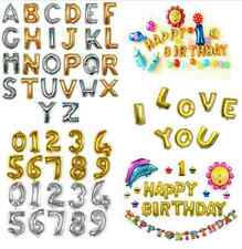 """16"""" Letter & Number Foil Balloons Birthday Wedding Party Decoration Gold Silver"""