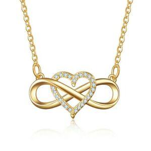 Damen Halskette Unendlichkeit Infinity Anhänger 925 Silber Kette Geschenk Gold