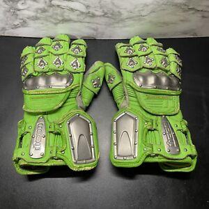 ICON Timax Titanium Gloves Size Medium GREEN Rare Vintage USED M