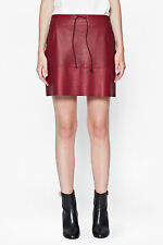 $248 French Connection Mini Skirt Leather Burnt Whisky NEW NWT 10