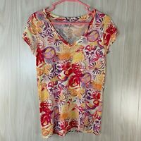 Lucky Brand V-Neck T-Shirt Peace Signs Women's Size S