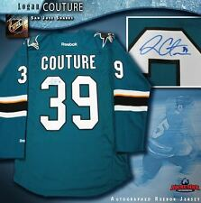 LOGAN COUTURE Signed San Jose Sharks Teal Reebok Jersey