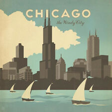 """""""Chicago, The Windy City"""" giclee open edition , Vintage - Recreated, 24x24, GTC"""