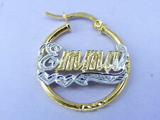 "PERSONALIZED 14K GF 1"" BABY  ROUND HOOP NAME EARRINGS"