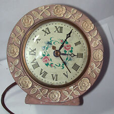Antique Vintage Painted Beautiful Floral Dial Alarm Clock Must see!!
