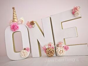 Unicorn Birthday Party Decoration Letter Number ONE TWO Gold Trim cake table