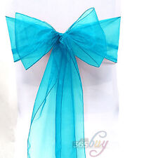 1 10 25 50 100--WEDDING ORGANZA SASHES CHAIR COVER PARTY FULLER WIDER BOW SASH