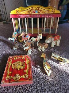 Vintage 1962 Wooden Fisher Price Circus Wagon Train, Animals Clown Jumbo