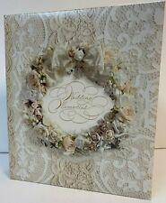 Wedding MEMORIES Hallmark Refillable Keepsake ALBUM IVORY roses, lace