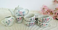 12 Pc Collectible Miniature China Tea Set for 4 Pink Blue Floral Rose Design