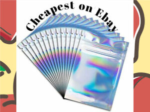 **All Sizes** Full Foil Iridescent & Blue Mylar Zip Lock Smell Proof Bags.