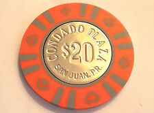 $20 CONDADO PLAZA ORANGE GRAY Casino Chip SAN JUAN Puerto Rico Bud Jones