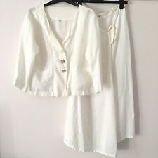 Out Of Xile White 100% Linen Silk Lagenlook Occasion Skirt Suit - Size 2 / UK 12