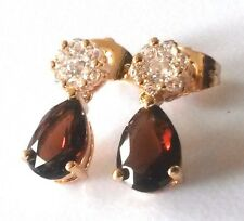 SPD Smokey quartz & sim diamond yellow gold GF dangle drop earrings Plum UK BOXD