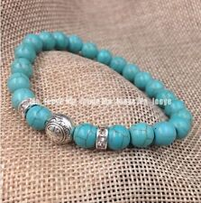 8mm Fashion jewelry design turquoise beads Tibet silver adjustable bracelet