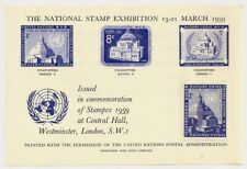 1959 United Nations Essays Sheet+ 3c Stamp London Stampex Harrison & Sons