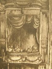 Gwen May original pencil signed etching, New Theatre, London 1950's