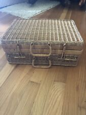 Vintage Wicker Picnic Basket Suitcase 16 X 11 X 6 In.