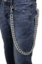 Men Silver Metal Wallet Chain Chunky Thick Link Extra Long Biker Fashion Jewelry