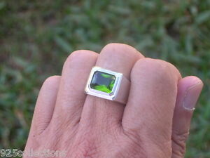 11 X 9 mm August Green Peridot Birthstone Men's Solitaire Rhodium Ring Size 7-15